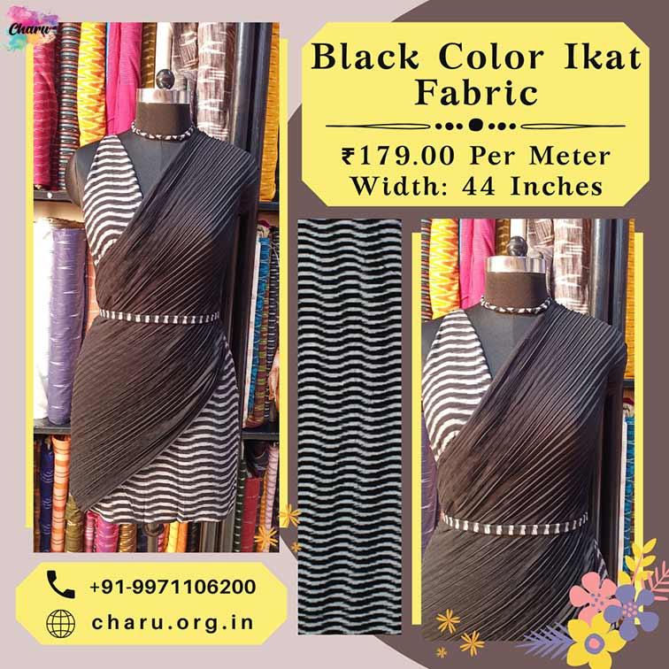 Black Color Ikat Dress Material Fabric