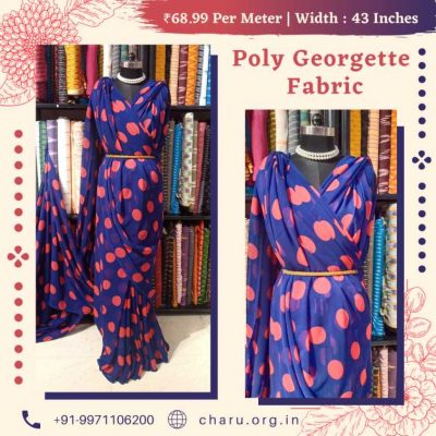 Blue Base Dapple Dot Print on Poly Georgette Dress Material Fabric