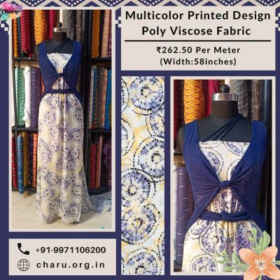 Multicolor Printed Design Poly Viscose Dress Material Fabric