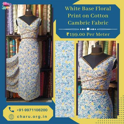 Draping Video : White Base Floral Print on Cotton Cambric Dress Material Fabric