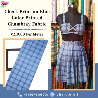 Draping Video : Check Print On Blue Color Printed Chambray Fabric